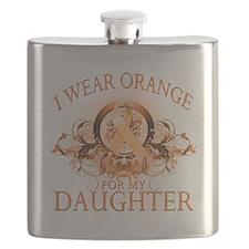 I Wear Orange for my Daughter (floral).png Flask