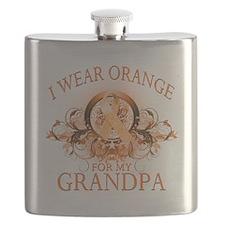 I Wear Orange for my Grandpa (floral).png Flask