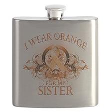 I Wear Orange for my Sister (floral).png Flask