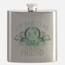 I Wear Teal for my Friend (floral).png Flask