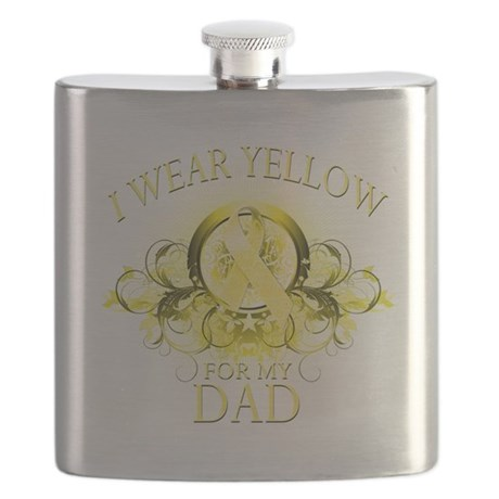 I Wear Yellow for my Dad (floral).png Flask