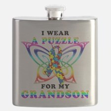 I Wear A Puzzle for my Grandson.png Flask