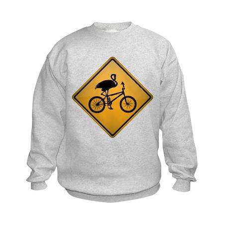 Flamingo on Bicycle Kids Sweatshirt