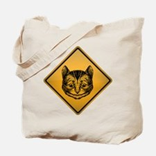 Cheshire Cat Warning Sign Tote Bag