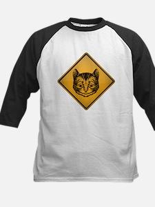 Cheshire Cat Warning Sign Kids Baseball Jersey