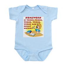 I Hate Homework! (boy) Infant Creeper