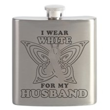 I Wear White for my Husband.png Flask