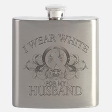 I Wear White for my Husband (floral).png Flask