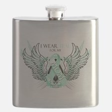 I Wear Teal for my Mom.png Flask
