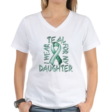 I Wear Teal for my Daughter Women's V-Neck T-Shirt