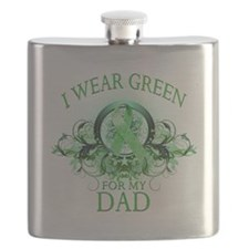 I Wear Green for my Dad (floral).png Flask
