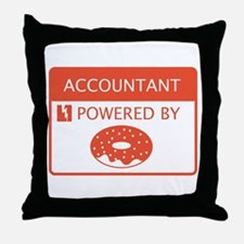 Accountant Powered by Doughnuts Throw Pillow