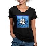 OYOOS Blue Moon design Women's V-Neck Dark T-Shirt