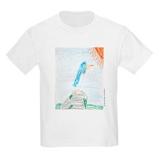 Blue Bird on Rock in Sun Kids T-Shirt