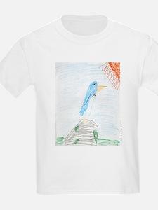Blue Bird on Rock in Sun Kids T-Shirt