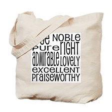 Philippians 4:8 Word Art Tote Bag