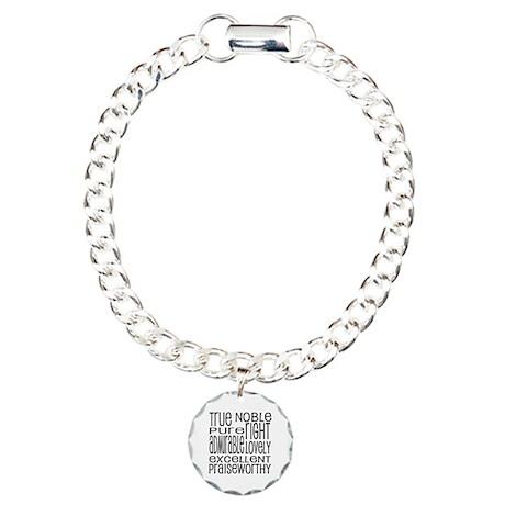 Philippians 4:8 Word Art Charm Bracelet, One Charm