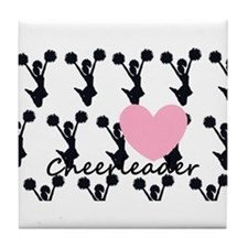 Cheerleader and a heart Tile Coaster