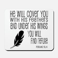 Under His Wings Verse Mousepad