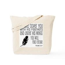 Under His Wings Verse Tote Bag