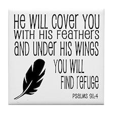 Under His Wings Verse Tile Coaster