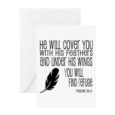 Under His Wings Verse Greeting Card