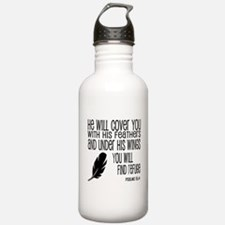 Under His Wings Verse Water Bottle
