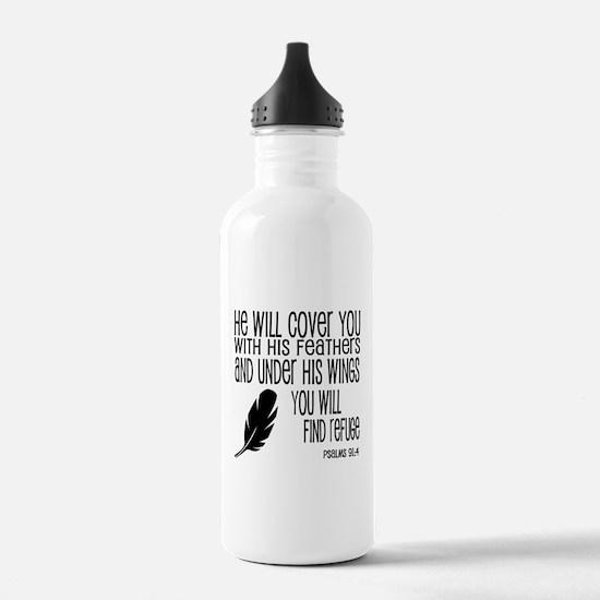 Under His Wings Verse Water Bottle