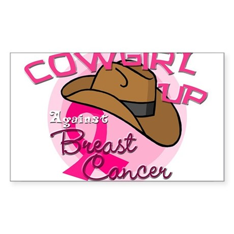 Cowgirl Up Against Breast Cancer Sticker (Rectangl