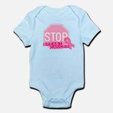 STOP Breast Cancer Pink Ribbon Sign Infant Bodysui