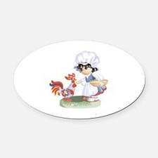 Chicken Oval Car Magnet