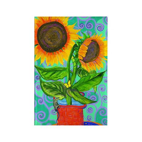 Lizard Sunflowers Rectangle Magnet