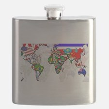 World Flag Map Flask