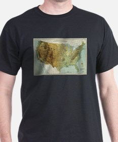 Vintage United States Physical Features Ma T-Shirt