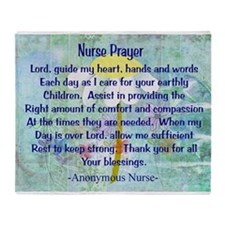 Nurse prayer blanket BLUE.PNG Throw Blanket