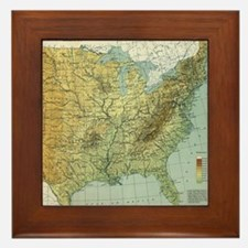 Vintage United States Physical Feature Framed Tile