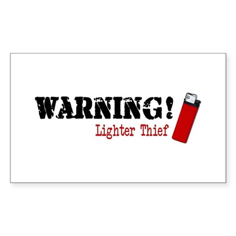 Warning Lighter Thief Rectangle Sticker