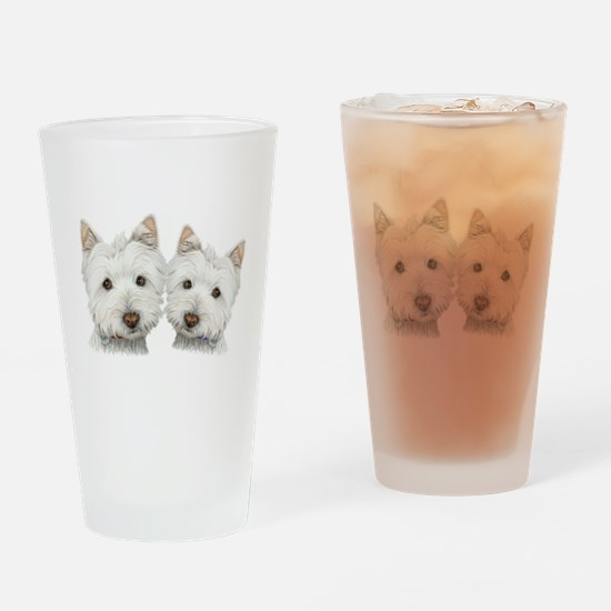 Two Cute West Highland White Dogs Drinking Glass