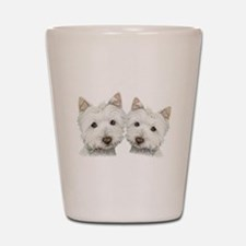 Two Cute West Highland White Dogs Shot Glass