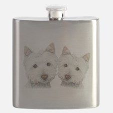 Two Cute West Highland White Dogs Flask