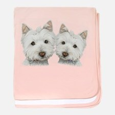 Two Cute West Highland White Dogs baby blanket