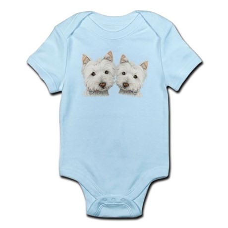 Two Cute West Highland White Dogs Infant Bodysuit