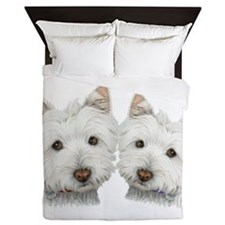 Two Cute West Highland White Dogs Queen Duvet