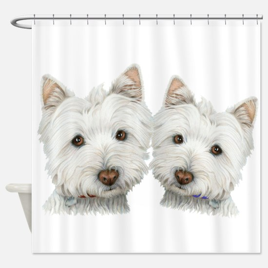 Two Cute West Highland White Dogs Shower Curtain