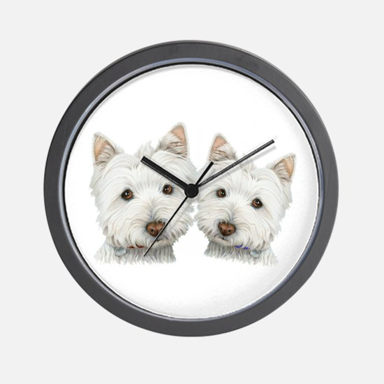 Two Cute West Highland White Dogs Wall Clock