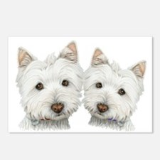 Two Cute West Highland White Dogs Postcards (Packa