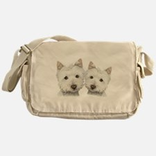 Two Cute West Highland White Dogs Messenger Bag