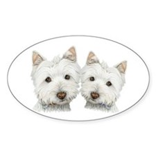 Two Cute West Highland White Dogs Decal
