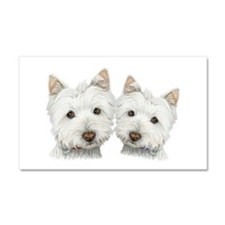 Two Cute West Highland White Dogs Car Magnet 20 x