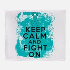 PCOS Keep Calm Fight On Throw Blanket